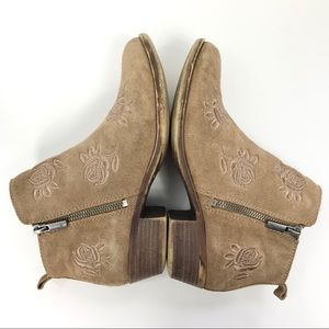 Lucky Brand Rose Embroidered Suede Tan Booties 7.5